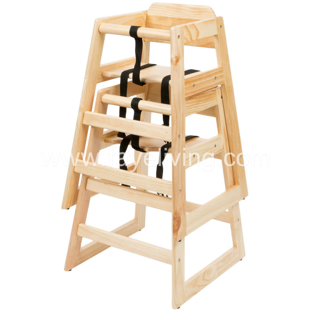 BH01 Restaurant Stackable Solid Wood Baby Highchair