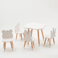 KT03 Customized Shape Wooden Kids Table and Chairs Set
